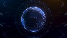 Глобальный infographic hologram Концепция технологии Hologram планеты Улучшите для вступления деловых новостей ТВ bluets Стоковые Фотографии RF