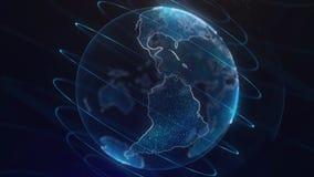 Глобальный infographic hologram Концепция технологии Hologram планеты Улучшите для вступления деловых новостей ТВ bluets Стоковые Изображения