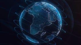 Глобальный infographic hologram Концепция технологии Hologram планеты Улучшите для вступления деловых новостей ТВ bluets Стоковое Изображение RF