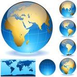 глобусы земли лоснистые иллюстрация вектора