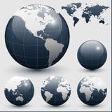 глобусы земли составляют карту мир иллюстрация вектора