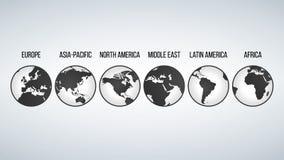 Глобусы с континентами в различных изменениях, иллюстрации вектора изолированной на современной предпосылке иллюстрация вектора