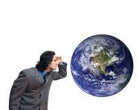 глобус бизнесмена стоковое фото rf