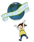 глобус девушки Стоковое Изображение RF