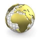 глобус европы золотистый Иллюстрация вектора