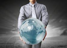 глобус земли вручает его Стоковое Изображение RF