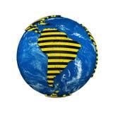 Глобус земли планеты изолированный на белой предпосылке Желтая и черная striped лента безопасности полиции предупреждающая Зоны к иллюстрация вектора