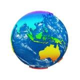 Глобус земли планеты изолированный на белой предпосылке Континенты радуги и голубой океан Торжество дня земли бесплатная иллюстрация
