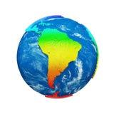 Глобус земли планеты изолированный на белой предпосылке Континенты радуги и голубой океан Торжество дня земли иллюстрация штока