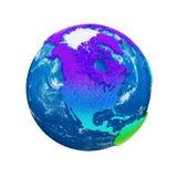 Глобус земли планеты изолированный на белой предпосылке Континенты радуги и голубой океан Торжество дня земли иллюстрация вектора