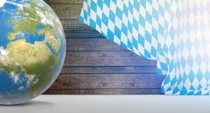 Глобус земли планеты флага Баварии 3D-Illustration Элементы th Стоковая Фотография