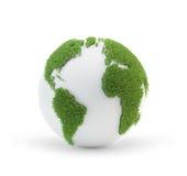 Глобус земли покрытый с травой Стоковое Изображение