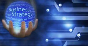 Глобус земли стратегии бизнеса соединил нововведение с идеями и концепциями, тренировкой, делом иллюстрация штока