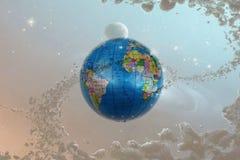 Глобус земли с звездами и межзвёздным облаком фона Стоковая Фотография