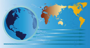 Глобус и карта Стоковые Фотографии RF