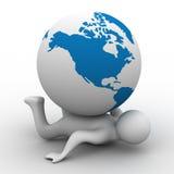 глобус кладя персону Стоковое Изображение RF