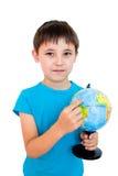 глобус мальчика Стоковая Фотография