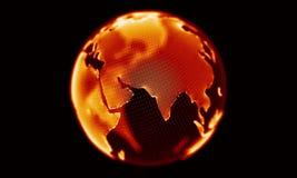 Глобус огня красный вращая на черной предпосылке Закрепляя петлей анимация иллюстрация вектора