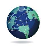 глобус полета земли самолета над путями иллюстрация вектора