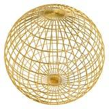 глобус рамки шарика золотистый Стоковые Фото