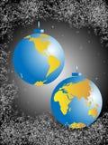 глобус рождества шариков иллюстрация вектора
