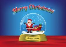 Глобус Санта веселого рождества с санями Санта иллюстрация штока