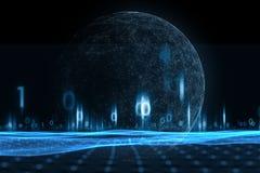 Глобус сети с иллюстрацией двоичных чисел Стоковая Фотография