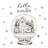 Глобус снега зимы с внутренностью дома и снега Линия милой руки вектора руки вычерченной черно-белой вычерченная стоковая фотография