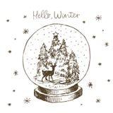 Глобус снега зимы с внутренностью рождественской елки, оленей и снега Линия милой руки вектора руки вычерченной черно-белой вычер стоковое изображение