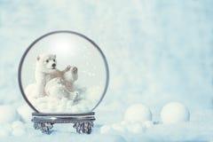 Глобус снега зимы с полярным медведем Стоковые Изображения RF