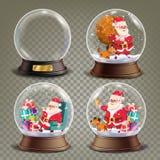 Глобус снега рождества с вектором Санта Клауса и подарков Реалистическая игрушка глобуса снега 3d Элемент дизайна Xmas зимы Стоковая Фотография