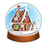 Глобус снега с домом и снежинками пряника внутрь рождество украшает идеи украшения свежие домашние к Хрустальный шар изолированны иллюстрация штока