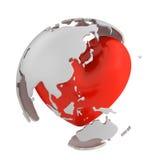 Глобус с сердцем, азиатской частью Иллюстрация вектора