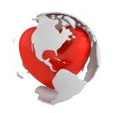Глобус с сердцем, частью Америка Бесплатная Иллюстрация