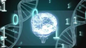 Глобус цифров с винтовой линией ДНК видеоматериал