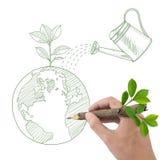 Глобус чертежа с зеленым заводом и чонсервной банкой. Стоковая Фотография
