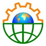 глобус шестерни иллюстрация вектора