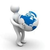 глобус держит персону изолированную иллюстрациями Стоковая Фотография