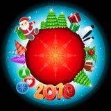глобус 2010 рождества Иллюстрация вектора