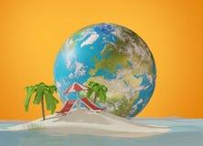 Глобус 3d-illustration земли острова и планеты Элементы этого Стоковое Фото