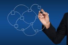гловальная сеть иконы удерживания руки Стоковая Фотография