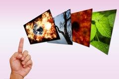 гловальное изображение руки указывая греть Стоковые Фотографии RF
