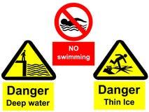 глубокая вода знаков Стоковые Фотографии RF
