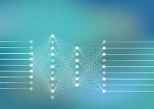Глубокая иллюстрация вектора нервной системы с салатовой и голубой предпосылкой для искусственного интеллекта Стоковые Фотографии RF