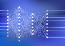 Глубокая иллюстрация вектора нервной системы с синей предпосылкой для искусственного интеллекта Стоковое фото RF
