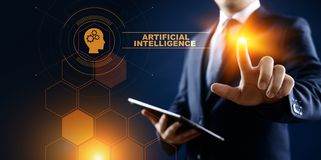Глубокая концепция технологии искусственного интеллекта машинного обучения бесплатная иллюстрация