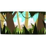 Глубокая тропическая предпосылка джунглей, тропический пейзаж тропического леса в иллюстрации вектора времени дня Стоковые Изображения
