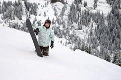 глубокий snowboarder снежка Стоковое Изображение