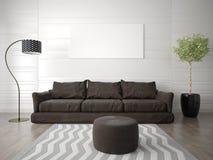 Глумитесь вверх по живущей комнате с коричневой софой Стоковые Фото