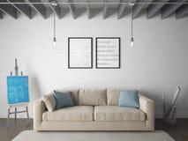 Глумитесь вверх по комнате плаката живущей с бежевой софой Стоковое Изображение RF